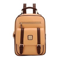 Retro Contrast Color Backpack School Travelling Bag