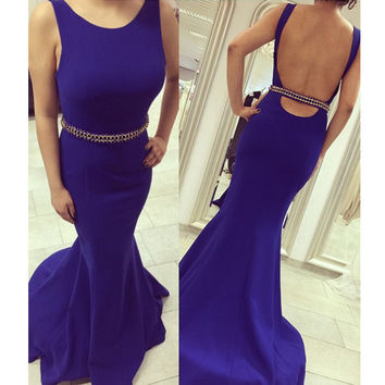Open Back Cocktail Dress Prom Gown pst0506