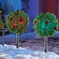 Solar Topiaries Christmas Pathway Stakes - Set Of 2