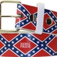 Confederate Flags Rebel Pride Leather Belt - Medium 34-36