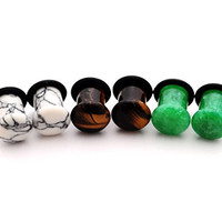 Set of 3 Pairs Single Flare Stone Plugs - 0g - 8mm - (Howlite, Tiger Eye, Green Jade) - Sold As a Pair