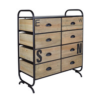 Geo Distressed Stencilled NSEW Floor Cabinet With Eight drawers, Natural Wood and ORB Metal