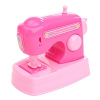 Pretend Play Dollhouse Simulation Miniature Sewing Machine Children Simulation Play Furniture Toys for Kids Girl Pink