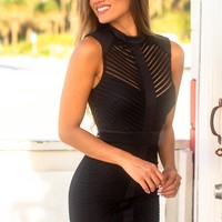 Black High Neck Short Dress