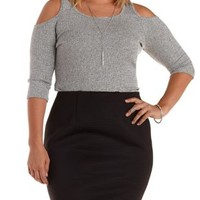 Plus Size Heather Gray Ribbed Cold Shoulder Top by Charlotte Russe