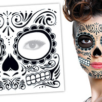 Tattoo Sales: Day of the Dead Black Halloween Skull Face Temporary Tattoo - Buy Direct From The Source