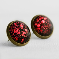 Ruby Red Glitter Post Earrings in Antique Bronze - Red and Black Small and Large Hexagonal Glitter Stud Earrings