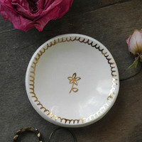 Gold Flower Porcelain Ring Dis, Real Gold Decorated Round Inspirational Ceramic Plate,  White Pottery, Bridal Plate, Little Jewelry Dish