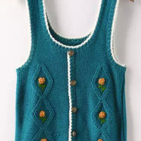 Blue Strappy Buttons Knit Sweater Vest