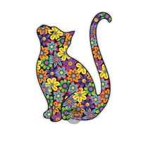 Cat Sticker Car Decal Laptop Decal Bumper Sticker Colorful Flowers Hippie Boho Cute Car Decal Pet Animal Kitten Floral Wall Decal Girly Gift