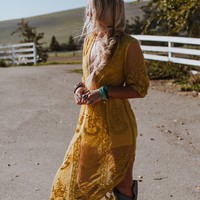 In the Deep Lace Maxi Romper - Mustard