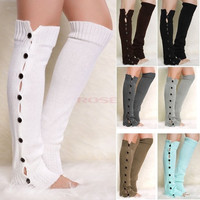 Button Down Knit Warmers Knee High Boot Socks Winter Boot Warm Socks Knit Leg Warmer SV012398|27701 Apparel & Accessories = 1958131332