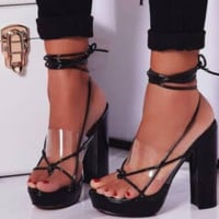 Female joker peep-toe lacing waterproof platform high-heeled shoes