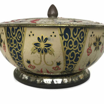 Vintage Tin Box Round Lidded Box Gold and Blue Floral Design Shabby Chic Collectible Home Decor