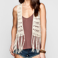 Full Tilt Crochet Fringe Womens Vest Natural  In Sizes