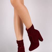 Fitted Velvet Chunky Heel Booties