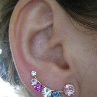 Ear Sweep Wrap - Cuff Earring with Swarovsky-Gold Filled-Pinkviolet2