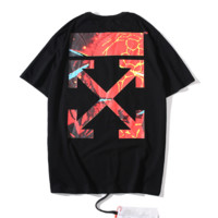 Off White New fashion flame cross arrow print couple top t-shirt Black