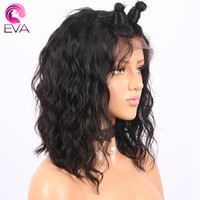 """Short Lace Front Human Hair Wigs With Baby Hair Pre Plucked Hairline Brazilian Remy Bob Wig 10""""-14"""" Eva Hair Natural Color"""