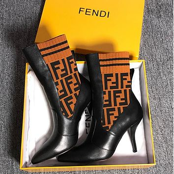 FENDI Rockoko logo-jacquard stretch-knit and leather ankle boots - Heel 6.5cm.