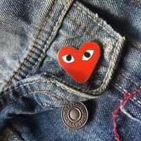 1 INCH CDG Comme Des Garcons Logo Brooch Heart Pin Play Supreme Enamel Bape Patch