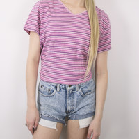 Vintage Colorful Boxy Striped Blouse