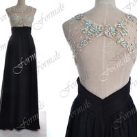 Black Prom Dresses, Black Formal Dresses, Straps Lace/ Crystal Long Chiffon Prom Dresses with Open Back, Wedding Party Dresses