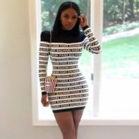 BALMAIN Fashion Women High collar Long Sleeve Bodycon Dress