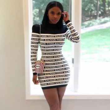 BALMAIN Women High collar Long Sleeve Bodycon Dress
