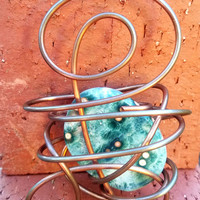 Copper Wire Sculpture Pendant With Sand Jasper Crystal