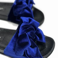 Suede Bow Slides- Royal Blue