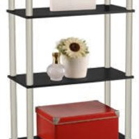 MOMENTUM FURNISHINGS PBF-0285-303 5 Tier Cherry Finish with Black Accents Book Shelf