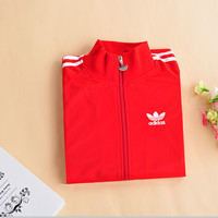 """""""Adidas""""Unisex Classic Clover Embroidery Three Bars Long Sleeve Sports Couple Coat Zip Tops"""