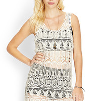 FOREVER 21 Butterfly Crochet Lace Dress Cream