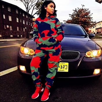 Women Casual Camouflage Long Sleeve Hooded Sweat Top Pant Set