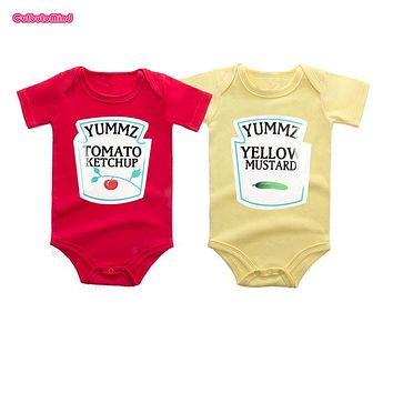 Culbutomind Yummz Tomato Ketchup Yellow Mustard Red and Yellow Bodysuit Baby Boy Twins Baby Clothes Twins Baby Boys Girls