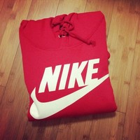 """NIKE"" Women Fashion Hooded Top Pullover Sweater Sweatshirt Red"