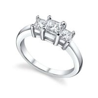 Sterling Silver CZ Princess Cut Three Stone Engagement Ring size 5-10