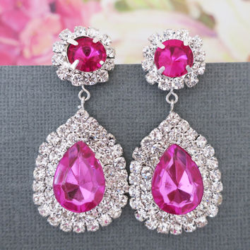 Rhinestone Large Drop Earrings, Fuchsia Wedding Jewelry, Old Hollywood Crystal Prom Jewelry
