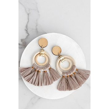 Raffia Fringe Dangle Earrings