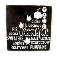 Fall Autumn Rustic Wood Sign Wall Hanging Home Decor Subway Art  (#1210)
