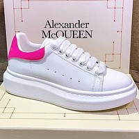 Alexander McQueen Fasion Women Men More color Board Shoes Rose red Tail