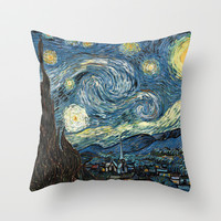 Starry Night by Vincent van Gogh. Throw Pillow by ArtsCollection