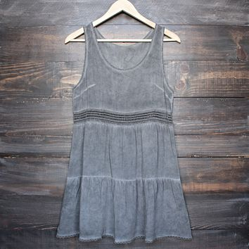 Final Sale - Boho Acid Wash Flowy Tunic Dress with Crochet Inset
