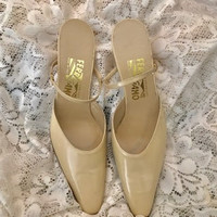 1990's Gorgeous Salvatore Ferragamo  Beige Strappy Pump Sandles With 2 Inch Kitten Heels Size 10 USA Excellant Condition Never Worn Like New