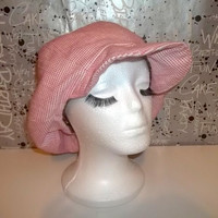 Spring Newsboy Casket with Full Lining - Pink and White Checked - Light Wool Pink Hat- Soft Wool Hat