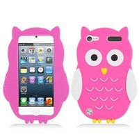 PINK WHITE CUTE OWL SOFT SILICONE CASE COVER FOR APPLE IPOD ITOUCH 5 5G+FREEBIES [In Casesity Retail Packaging]