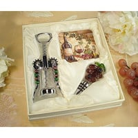 D'Lusso Designs Murano Wine Cheese Design Cork Screw,Stopper With Two Coaster Set
