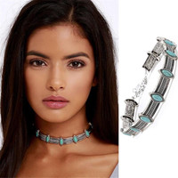 Boho Collar Choker Silver Necklace jewelry Necklace women Euro Vintage Necklace Bohemia Turquoise Beads