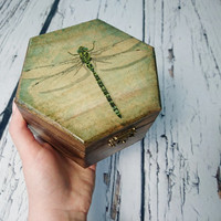 READY TO SHIP Trinket dragonfly small patinated shabby chic box decoupage keepsake gift for her steampunk spooky look like old witch rustic